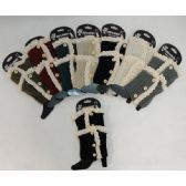 12 Units of .Knitted Boot Cuff [Antique Lace-3 Buttons] - Womens Leg Warmers