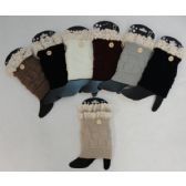 "12 Units of Knitted Boot Cuffs [1 Button-Antique Lace] Assorted colors. 7"" long - Womens Leg Warmers"