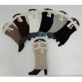 24 Units of Knitted Boot Cuffs [2 Buttons-Antique Lace] - Womens Leg Warmers