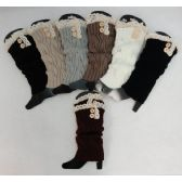 12 Units of Knitted Long Boot Cuffs [2 Buttons/Antique Lace] - Womens Leg Warmers