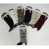 12 Units of Knitted Long Boot Cuffs [5 Buttons/Antique Lace] - Womens Leg Warmers