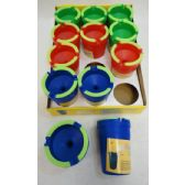 96 Units of Small Butt Bucket with Glow Edges [Bright Colors] Assorted colors. - Buckets & Basins