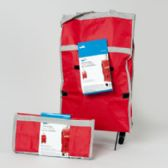 36 Units of Cart Rolling Fabric Bag Red 12 X 5 X 24 Fold Up Carded - Travel & Luggage Items