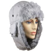 36 Units of GREY WINTER PILOT HAT WITH FAUX FUR LINING AND STRAP - Trapper Hats