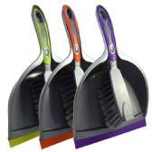 48 Units of Dust Pan w/ Brush Asst. Colors - Dust Pans