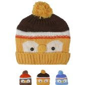 72 Units of KID WINTER HAT OWL FACE ASSORTED - Junior / Kids Winter Hats