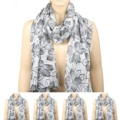 36 Units of Womens Fashion Scarf In White With Black flowers - Winter Scarves