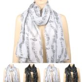 36 Units of Womens Fashionable Scarf In Assorted Color With Musical Notes - Winter Scarves