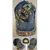 36 Units of Denim Hat with Bling [HOPE] - Baseball Caps & Snap Backs
