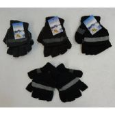 24 Units of Fingerless Gloves with Mitten Flap [Solid Color with Stripe] - Knitted Stretch Gloves