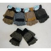 24 Units of Fingerless Gloves with Mitten Flap [Variegated] - Knitted Stretch Gloves