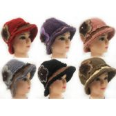 24 Units of Wholesale Knitted Lady Winter Hats with Rhinestone Flower Petal - Fashion Winter Hats