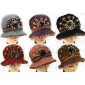 24 Units of Wholesale Knitted Winter Lady Hats with Fur Ball Design - Fashion Winter Hats