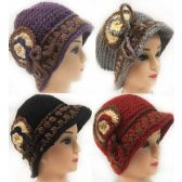 24 Units of Wholesale Knitted Lady's Winter Hats with layered flower design - Fashion Winter Hats