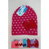 24 Units of Girl's Beanie [Polka Dots & Bow]
