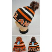 12 Units of Knitted Toboggan Hat [CLEVELAND] Brown/Orange