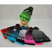 24 Units of Knitted Toboggan with Pompom [NEW YORK]