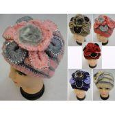 36 Units of Ladies Knitted Fashion Hat [Fur/Flower/Rhinestones] - Winter Beanie Hats