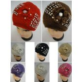 24 Units of Ladies Knitted Hat [Knitted Flower & Rhinestones] - Winter Beanie Hats