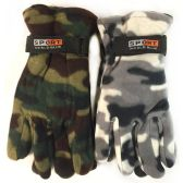 24 Units of Fleece Green White Camo Print Winter Gloves Assorted - Fleece Gloves