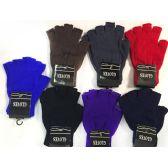 36 Units of Half Finger Covered Magic Texting Gloves Assorted - Knitted Stretch Gloves