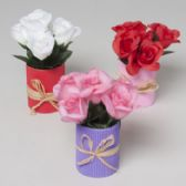 96 Units of Flower Pot 7in W/roses 3ast Red/pink/white W/corrugated Base Valentine Hangtag