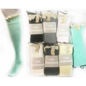 24 Units of Long Stocking with Crochet Top & Buttons Assorted