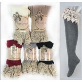 24 Units of Long Over the Knee Stocking with Lace Trim Assorted - Womens Knee Highs