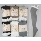24 Units of Solid Knitted Stocking with Lace Trim Assorted - Womens Knee Highs