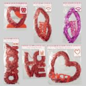 108 Units of Tinsel Valentine Decor Asst Hanging Heart/love/lips/xoxo & Heart Centerpiece
