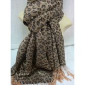 36 Units of Winter Fashion Pashminas Leopard Style Light Brown - Winter Pashminas and Ponchos