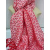 36 Units of Winter Fashion Pashminas Leopard Style In Pink - Winter Pashminas and Ponchos