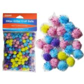 144 Units of 200 Piece Craft Balls With Glitter - Craft Beads