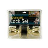 6 Units of Brass Finish Locking Door Knob Set with 2 Keys - Doors