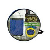 12 Units of Folding Nylon Bucket with Metal Handle - Buckets & Basins