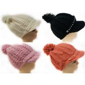 24 Units of Knitted Winter Hat with Rhinestone Bill Assorted Colors - Fashion Winter Hats