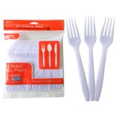 48 Units of 48 Pc White Plastic Forks