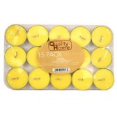 72 Units of Tealight 15PCS Yellow In PVC Box