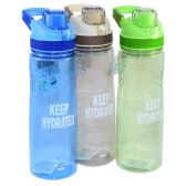 "24 Units of ""Keep Hyrated"" Water Bottle Flip Top with Filter - Drinking Water Bottle"