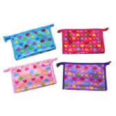 96 Units of Assorted color heart printed cosmetic bag
