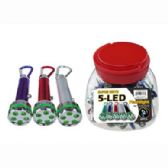 72 Units of 5 LED FLASH LIGHT WITH CARABINER - Flash Lights