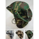 12 Units of Cotton Boonie Hat with Cloth Flap [Army Camo] - Sun Hats