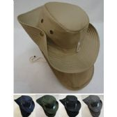 12 Units of Cotton Boonie Hat with Cloth Flap [SOLID] - Sun Hats
