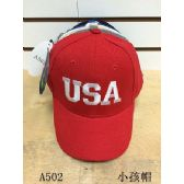 144 Units of USA Solid color baseball cap/ hat - Kids Baseball Caps