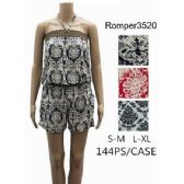 144 Units of Tube Style Short Romper Royal Floral Design - Womens Rompers & Outfit Sets