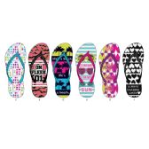 72 Units of Ladies Verbiage Printed Flip Flops - Women's Flip Flops