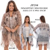 24 Units of Ladies Elephant Print Shawl With Tassles - Womens Sweaters / Cardigan