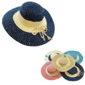 24 Units of Ladies Large-Brim Fashion Hat [Two-Tone with Sequins] - Sun Hats