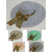 24 Units of Ladies Large-Brim Fashion Hat [Two-Tone Woven with Cheetah Bow] - Sun Hats