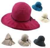 24 Units of Ladies Fashion Hat [Solid Swirl with Wooden Ring Medallion] - Sun Hats
